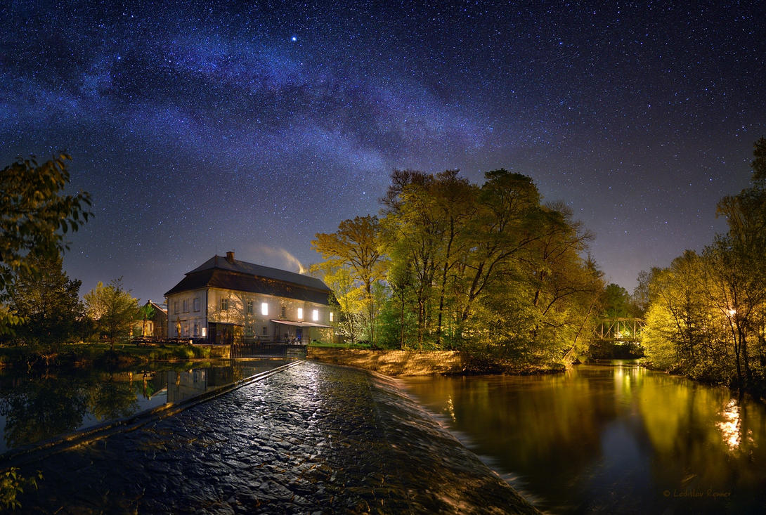 - Watermill  under Milky Way - by UNexperienced