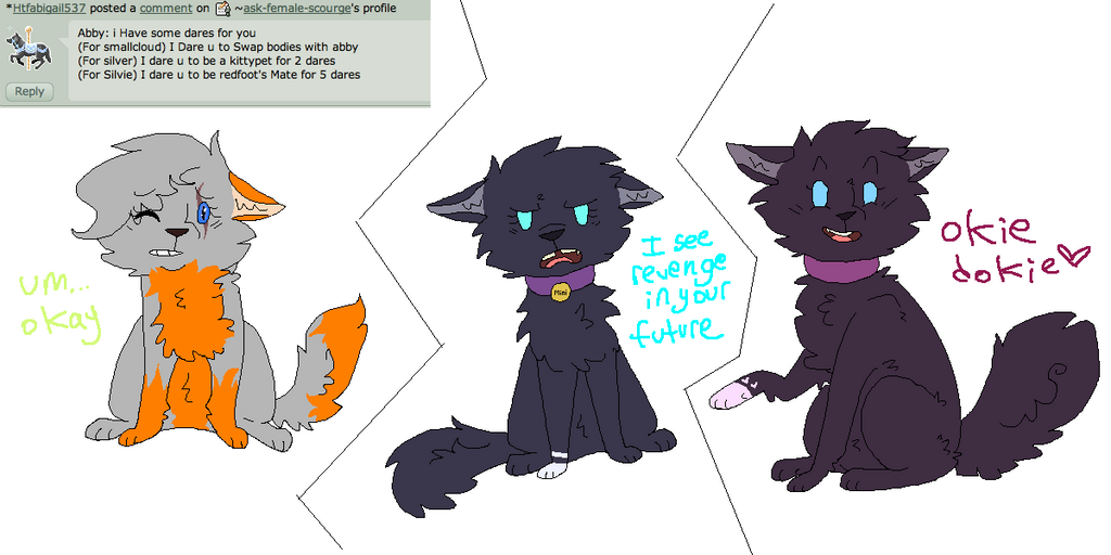 Dare 28: switch, kittypet, and mate by ask-female-scourge