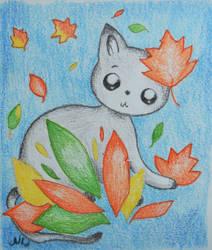 Autumn cat by Niawmi