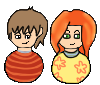 Audrey and Ted Pixel Dolls by Magegirl-Nino