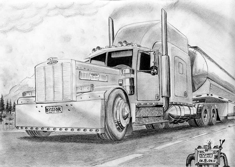 Peterbilt Semi Truck Drawings - 65\' Peterbilt WIP by Mister-Lou on ...