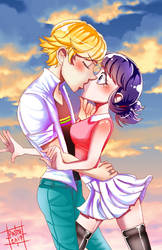 Adrienette Fanart: Pulled In For a Kiss by PatchedUpArtist