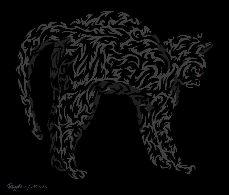 'One line' - Night Cat by Cheshire-Maddie