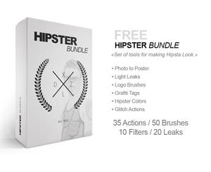 FREE HIPSTER BUNDLE: 35 Actions / 50 Brushes / ...