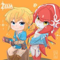 Fanart_Link and Mipha_Zelda breath of the wild