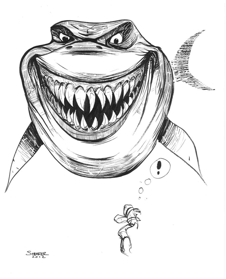 Daily Sketch: Bruce from Finding Nemo by gravyboy on DeviantArt