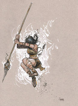 Daily Sketch: Warrior Girl Jumping