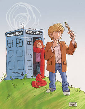 Daily Sketch: Kid Doctor Who and Amy Pond