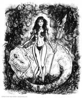 jungle girl and dino by gravyboy