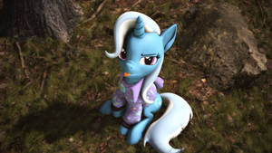 Trixie in a Hoodie Blowing a Raspberry