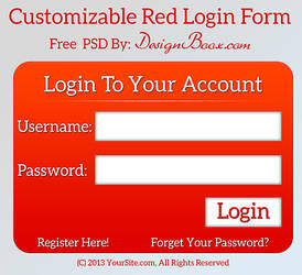 Customizable Red Login Form Free PSD by mansy-graphics