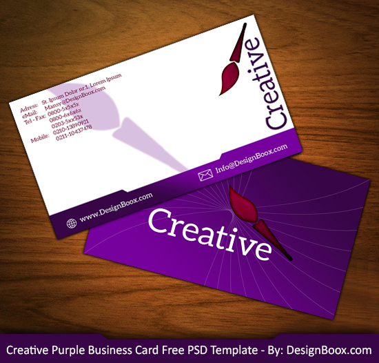 Creative Purple Business Card Free PSD Template By Mansy Graphics