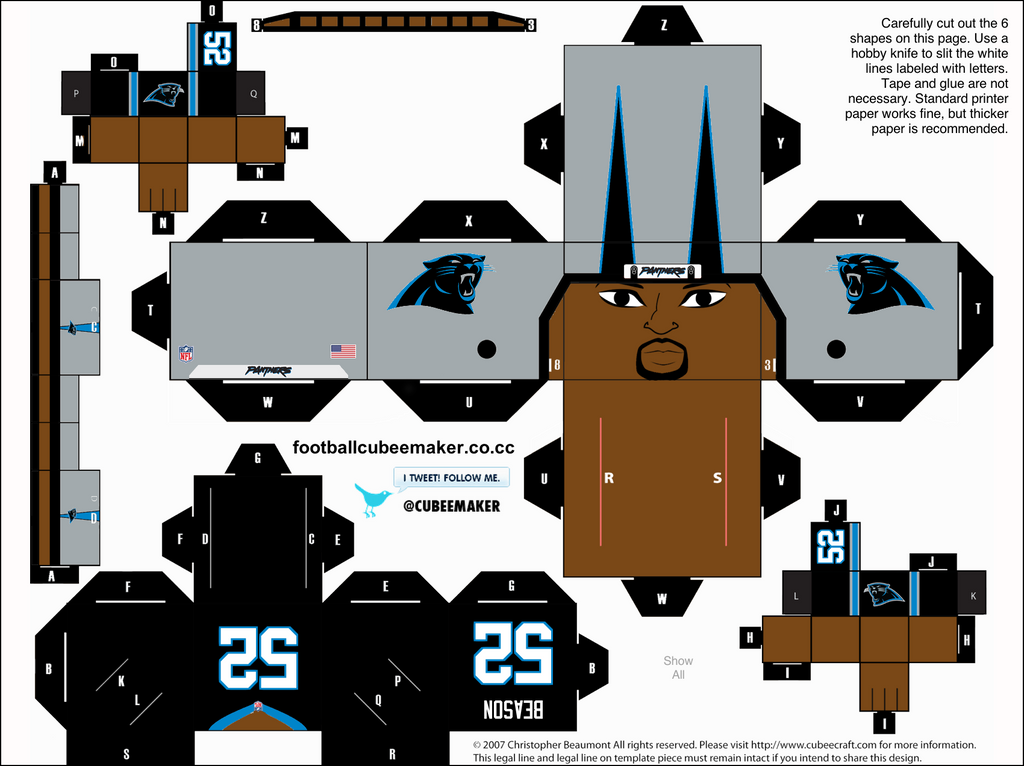 Jon Beason Panthers Cubee by etchings13