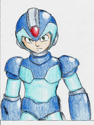 Mega Man X (accidentally cool scribble)
