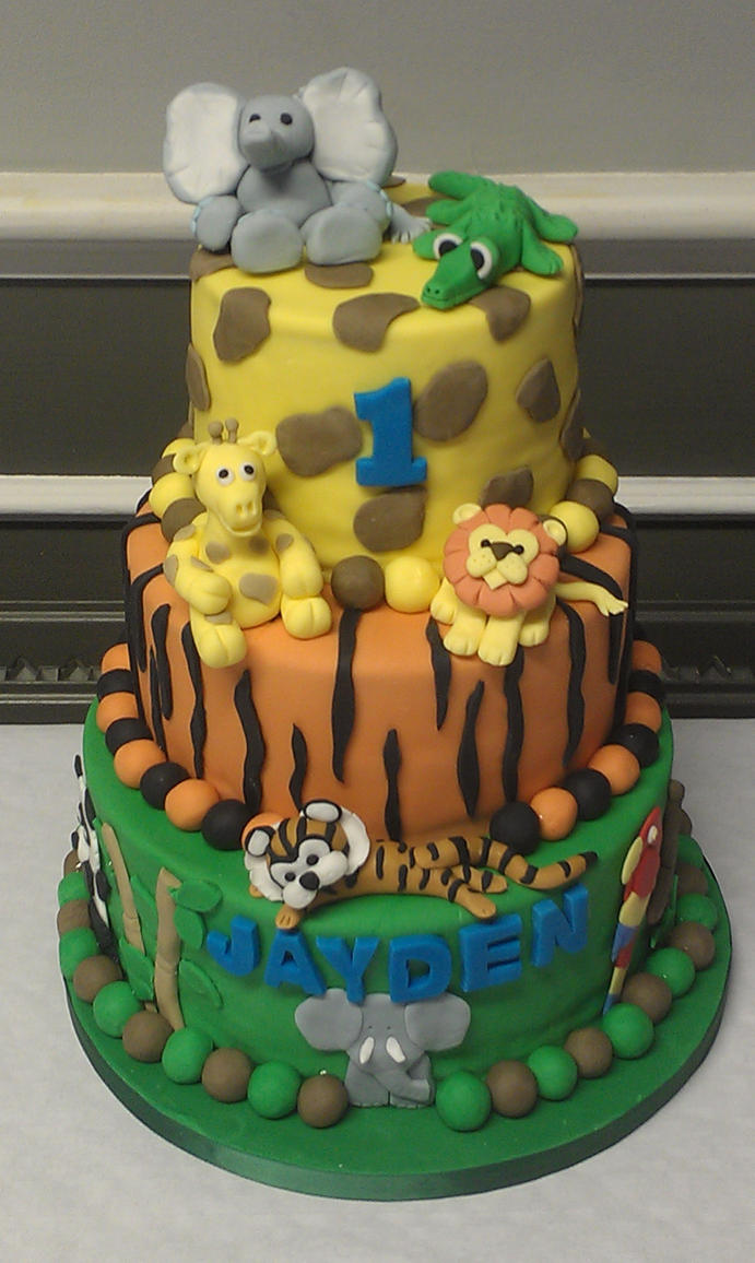 Birthday Cake Ideas Jungle Theme : jungle theme birthday cake by twilightamnesia75 on DeviantArt
