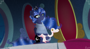 Darkest Luna pets the goose too...