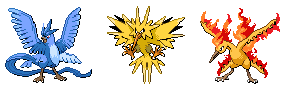 Articuno, Zapdos, Moltres Sacred wing forme sprite by Pikafan2000