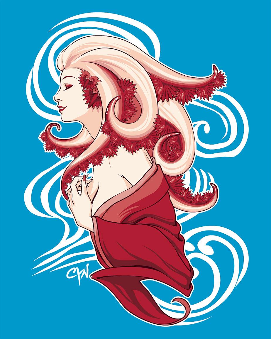 Water Geishas: Axolotl by cynthiafranca