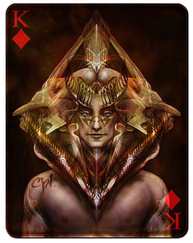 King of Diamonds - Black Version by cynthiafranca