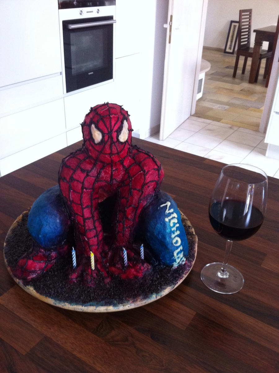 how to make a 3d spiderman cake