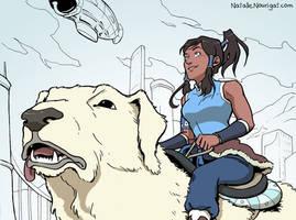 Korra and Naga by Tallychyck