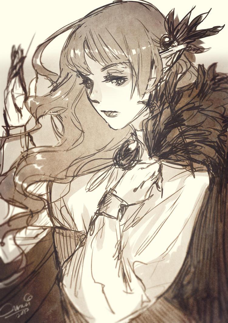 Elf Mage Sketch by Curazi