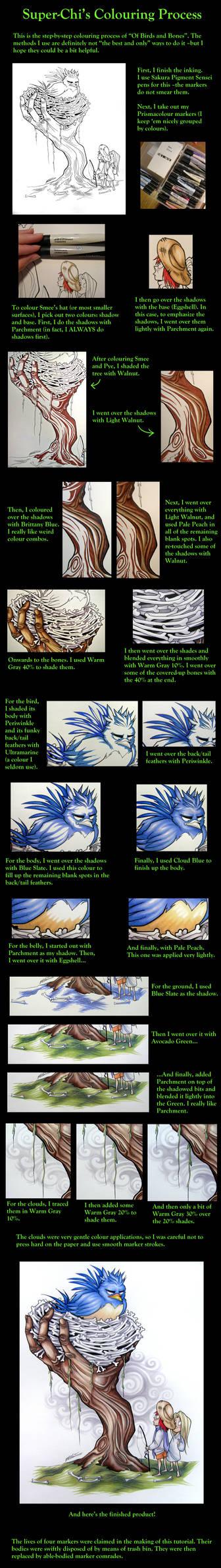 Super-Chi's colouring process
