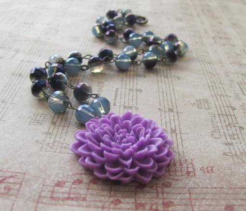 Violet flower necklace by LKJSlain