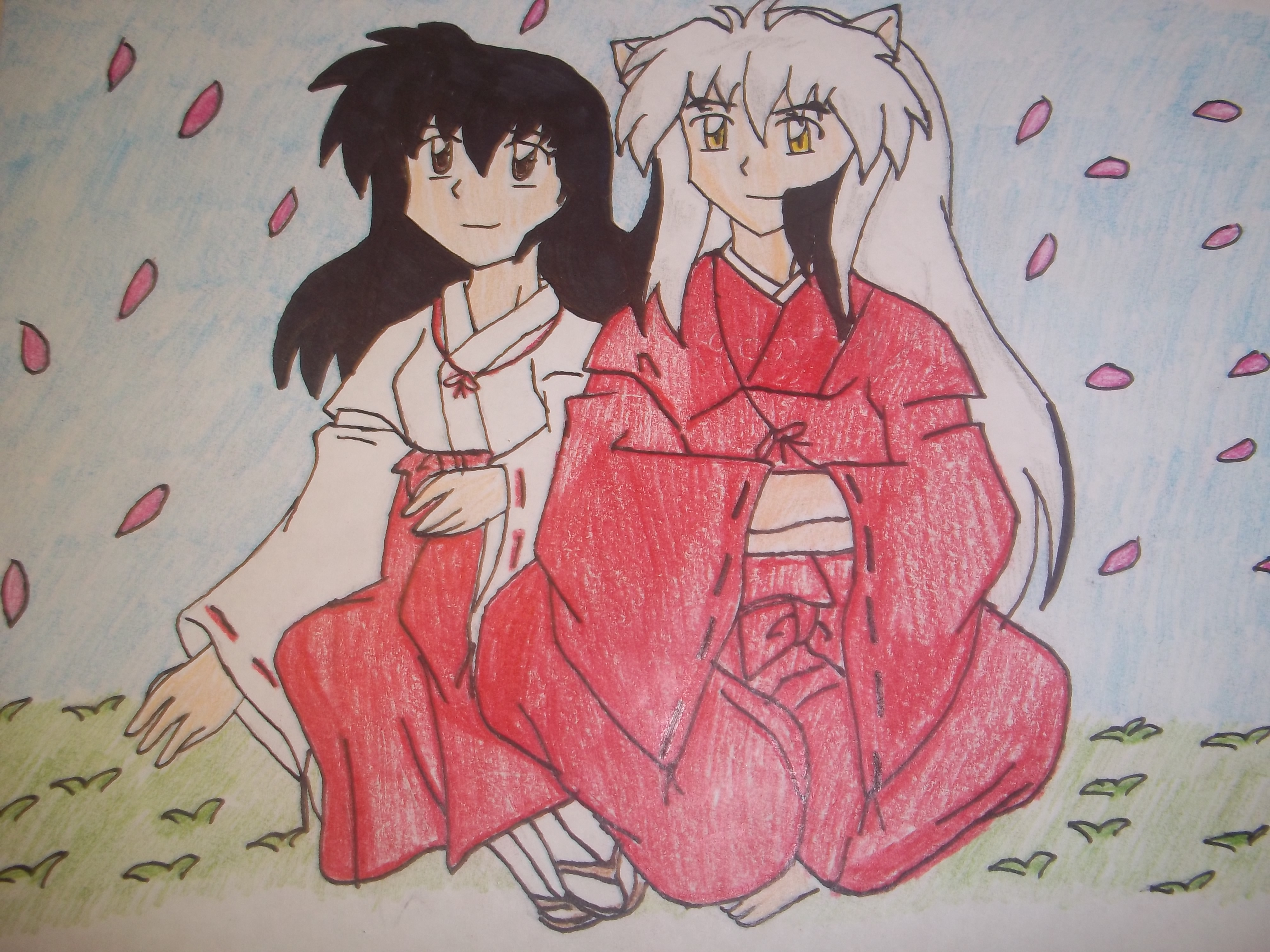 InuKag Pink Petals by sonic4568