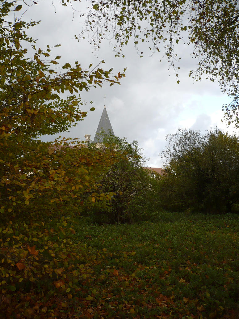Autumn Church 2 by Cat-in-the-Stock