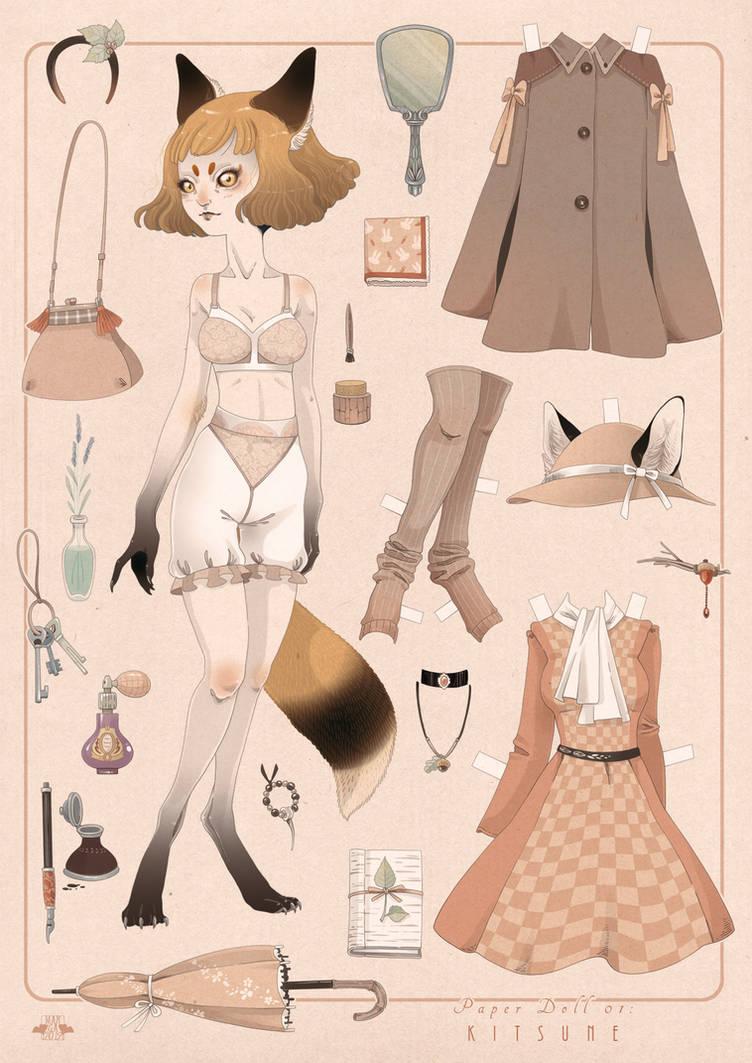 Paper Doll KITSUNE by blackBanshee80