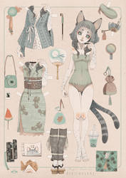 Paper Doll NEKOMUSUME by blackBanshee80