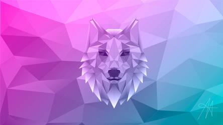 Polygonal Illustration: Wolf WALLPAPER 6k by AlexBrownArt1