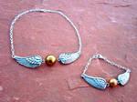 Golden Snitch Bracelet and Necklace Set