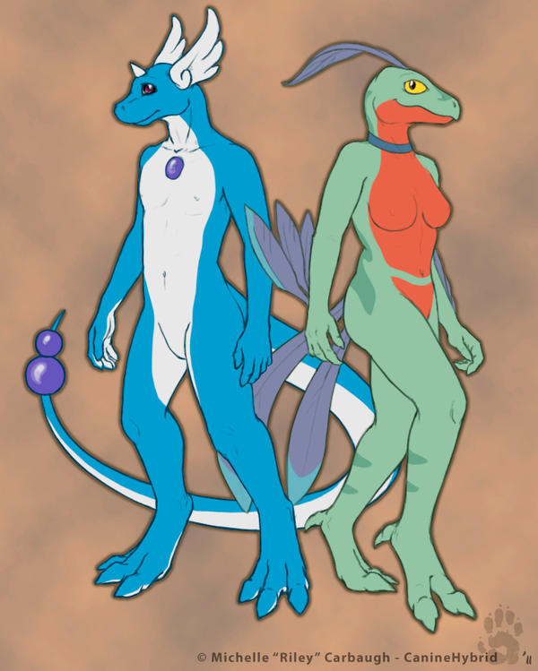 Anthro Dragonair and Grovyle by CanineHybrid