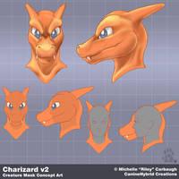 Charizard v2: Mask Concept Art by CanineHybrid