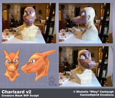 Charizard v2: WIP Mask Sculpt by CanineHybrid