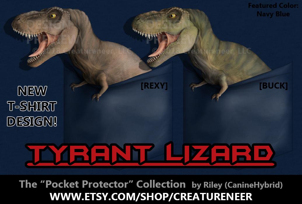 T-Shirt Design: Tyrant Lizard 'Pocket Protector' by CanineHybrid
