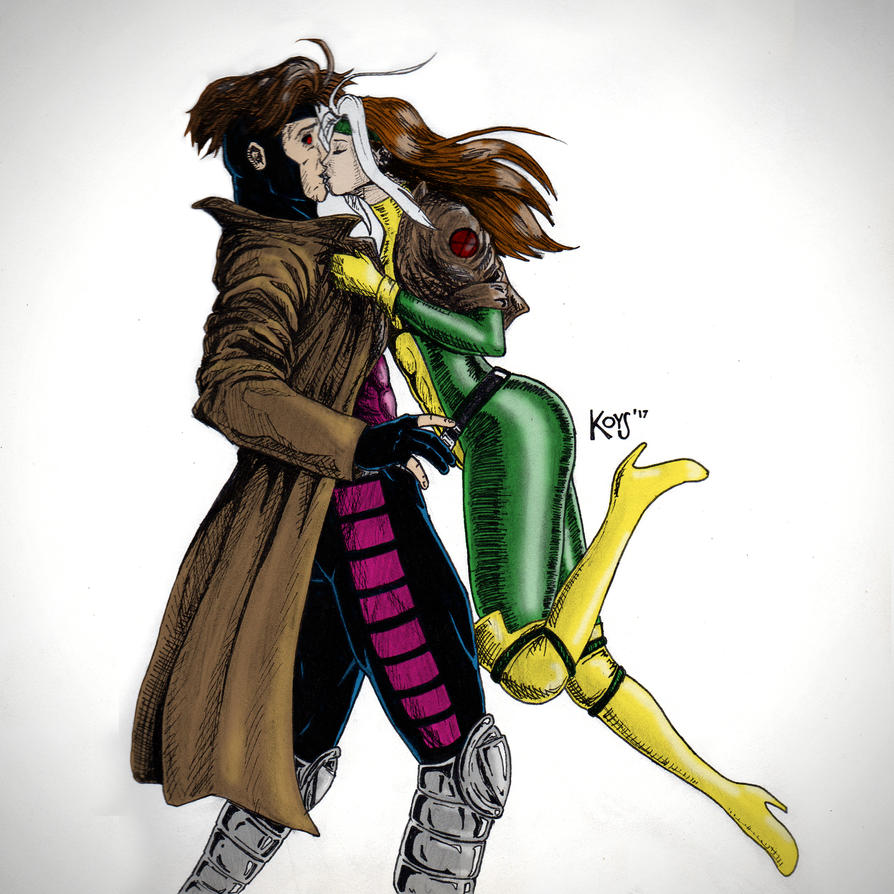 Inktober 18: Gambit And Rogue (Colored) By Francogarcia On