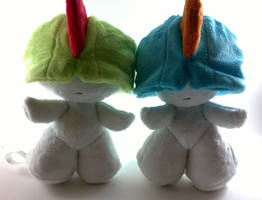 Ralts and shiny ralts plush for sale by LRK-Creations