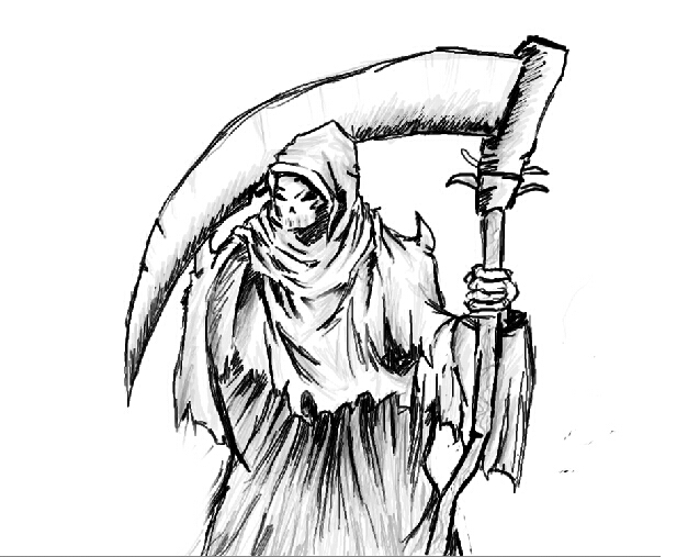 how to draw the grim reaper with wings