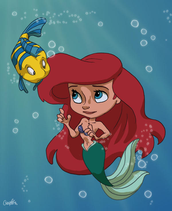 Ariel and Flounder by AriellaMay
