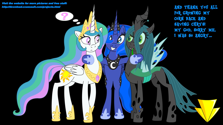 Luna Thanks Celestia And Chrysalis (Coloured) by Imaflashdemon