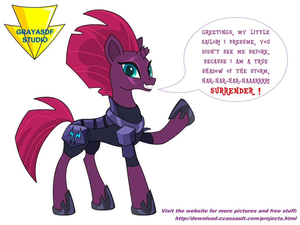 Tempest Shadow says 'Hi' (coloured vector render) by Imaflashdemon