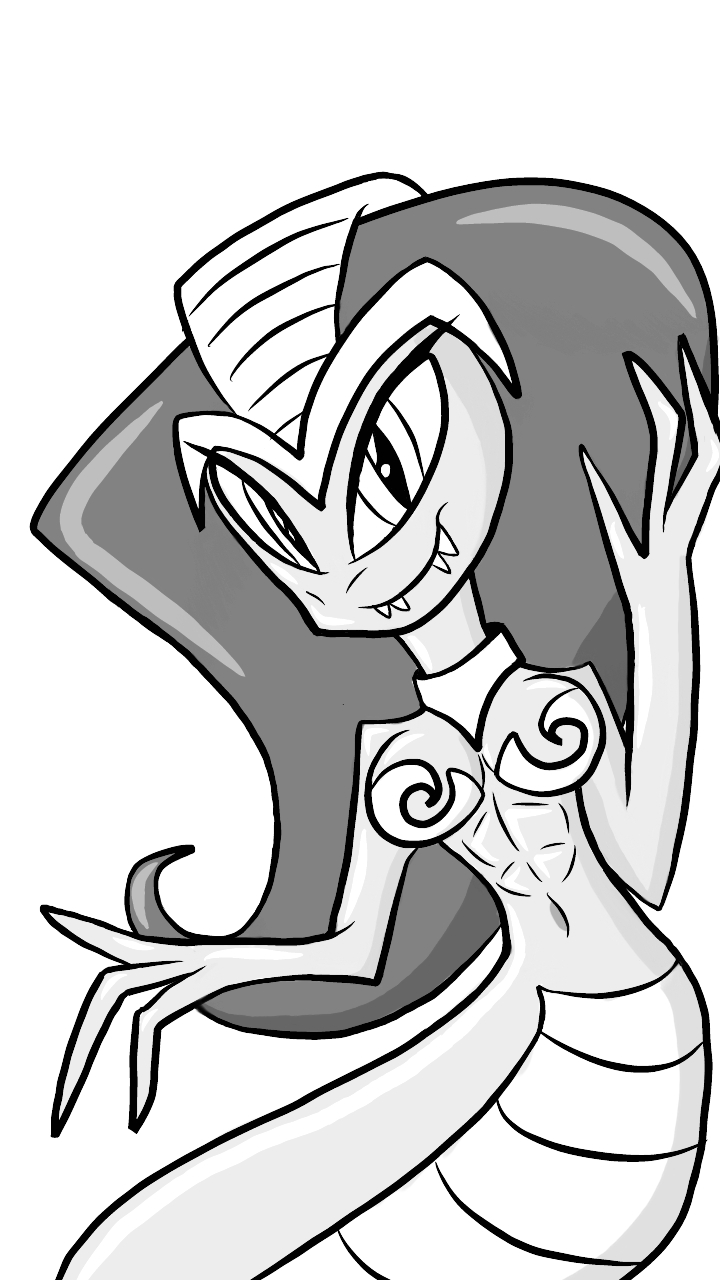 Shantae Becomes Cobra (sketch) by Imaflashdemon