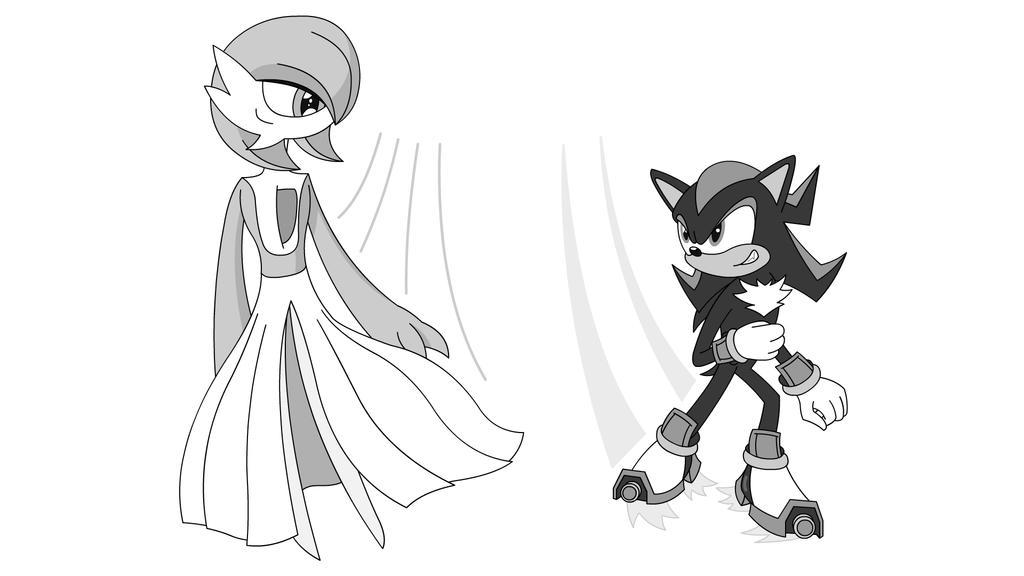 Gardevoir Vs Shadow - Let's Race! (sketch) by Imaflashdemon