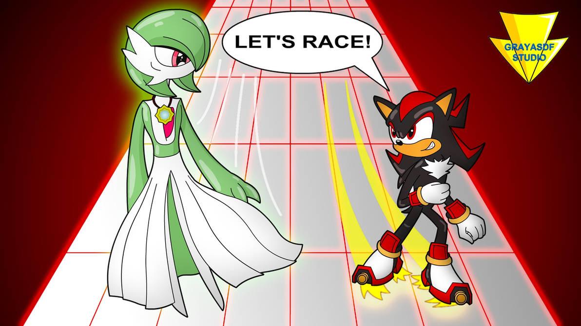 Gardevoir Vs Shadow - Let's Race! (coloured) by Imaflashdemon