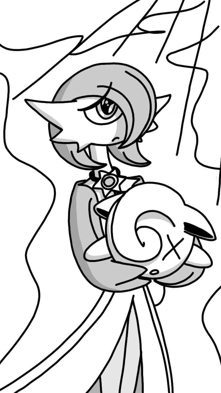 Gardevoir With Defeated Jigglypuff (sketch) by Imaflashdemon