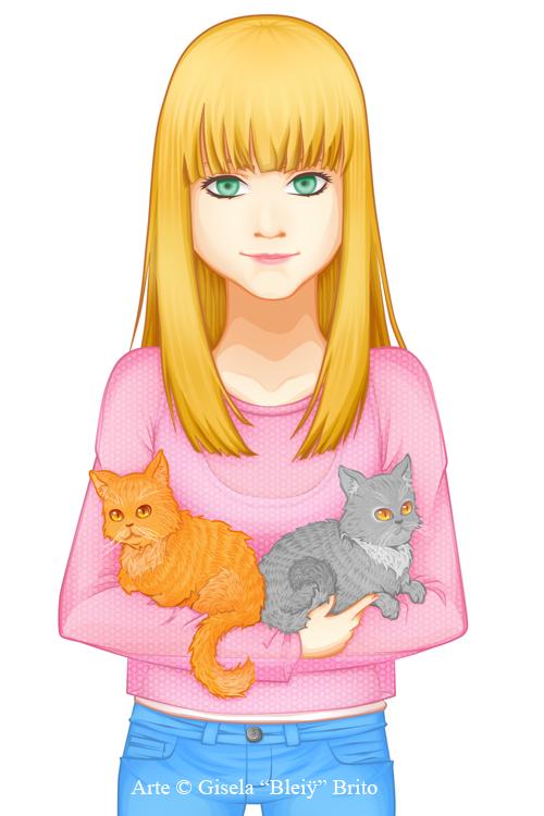 [C] Laura y sus gatos by Bleiy