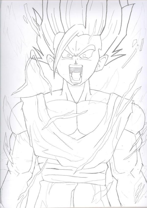 how to draw gohan super saiyan 4